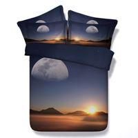 3d dolphins bedding toptan satış-4 Stilleri Ayarlama Güneş Ay 3D Baskılı Yatak Takımları Ikiz Tam kraliçe kral Yatak Örtüsü Örtüleri Nevresim Dağ Hayvan Yunus Galaxy