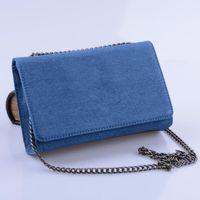 Wholesale Canvas Envelope Wallets - New Fashion Brand Denim Bag Chain Messenger Bag Clutches Women Handbag Single Shoulder Bags Wallet - Real Photo