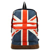 Wholesale Teenagers School Bags Uk - Wholesale- 2016 New Fashion UK British Flag Union Jack Style Backpack Shoulder Bag BackPack Canvas Big Capacity School Bag For Teenager