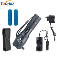 Wholesale Led Torch Holster Pouch - RUzk5 T6 4000 lumens adjustable led flashlight high power TORCH+Car Charger+AC Charger+2*18650 5000mAh battery + Holster pouch