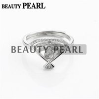 Bulk of 3 Pieces Fanshaped Ring Pearl Configurações 925 Sterling Silver Cubic Zirconia DIY Jewellery Making