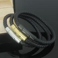 leather charm bracelet al por mayor-Nueva moda de cuero genuino MONT Pulsera Hombres Hebilla Charm Pulseras para las mujeres Negro con acero Titanium Amantes brazalete Hombre