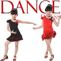 Wholesale Latin Dance Outfits - Kids Red Ballroom Latin Dance Dress Girls Salsa Black Competition Dancing Costumes Performance danceware Outfits for Children