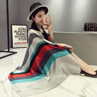 Wholesale Stripe Scarf Silk - 2017 New Fashion Women Stripe Silk Scarf Luxury Brand Female High Quality Foulard Silk Wraps Shawls Scarves