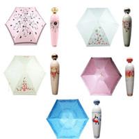 духи складной зонтик бутылки оптовых-Новинка флакон духов в форме складной зонтик мини портативный зонтик анти-УФ дождь зонтик Белый жесткий чехол розовый Принцесса дизайн