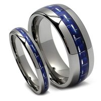 Wholesale mix match rings - SHARDON Matching Tungsten carbide rings Wedding Band Set Blue Carbon Fiber inlay wedding bands Ring Set