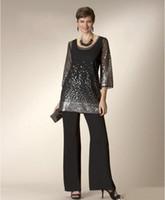 siyah payet pantolon kıyafeti toptan satış-Yeni Siyah İki Adet anne Gelin Elbiseler Ile Pant Ile Suits Sequins Düğün Konuk Abiye Boncuklu 2017 Abiye