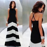 gerisiz çizgili maxi elbise toptan satış-Yeni Siyah Ve Beyaz Çizgili Maxi Elbise Backless Elbise Yaz Elbiseler Resmi Elbiseler Akşam Seksi Kadın Çizgili Uzun Maxi Abiye