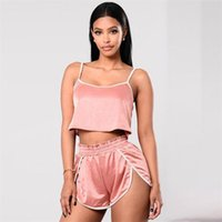 Wholesale Loose Basketball Beads - 2017 Sexy Loose Backless Suits Womens Cropped Camis Vest And Shorts Summer Pink Fitness Shorts Suits survetement femme HGE