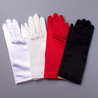 Wholesale Red Short Satin Gloves - High Quality Simple Elegant Short Satin Bridal Gloves New Design Red Black White Ivory Wrist Length Full Finger Wedding Evening Party Gloves