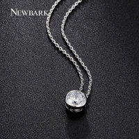 Wholesale Bezel Set Round Necklace - NEWBARK Simple Round 1 Cubic Zirconia Solitaire Pendant Necklace Bezel-Set Wedding Silver Color Women Jewelry Gifts q170720