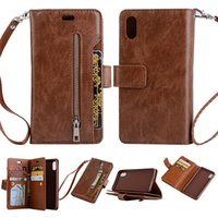 Wholesale plus security - Wallet Case Multiple Card Slots Folio with a Security Zipper Tight Button Closure For iPhone x 7 8 6 6s plus Samsung note8 S8 S7 Plus OPPBAG