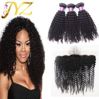 Wholesale Extensions Natural Hair Kinky - Brazilian virgin hair kinky curly with frontal 13x4 lace frontal closure with bundles brazilian human hair kinky curly hair extensions