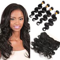 Wholesale Black Wet Top - Top Lace Frontal With 4 Bundles Body Wave Wet And Wavy 7a Virgin Hair Natural Black Brazilian Peruvian Indian Malaysian Virgin Hair Bundle