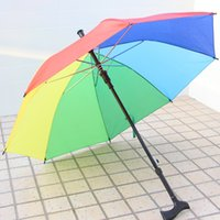 Wholesale Rainbow Umbrella Free Shipping - Colorful Crutch Umbrella Practical Rainbow Walking Stick Umbrellas With Long Handle Durable For Outdoors Free Shipping ZA4393