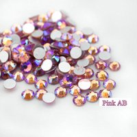 Wholesale Wholesale Glass Flat Back Rhinestones - Super shiny 1440pc SS3-SS30 Crystal Glass AB 3D PINK Nail Art Rhinestones Flat Back Non Hotfix Nails art decorations