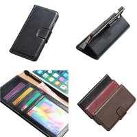 Wholesale Handmade Genuine Case - For iPhone 7 Plus Yak Genuine Leather Wallet Case with Card Slots and Photo Frame Handmade Business Kickstand Flip Case Opp Bag