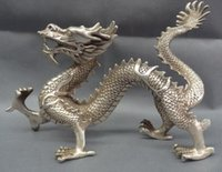 "Wholesale 12 Animals Figurines - Statues gifts 12"" Chinese Silver Zodiac Myth Beast Figurine Wealth Fly Dragon Brass Statue"