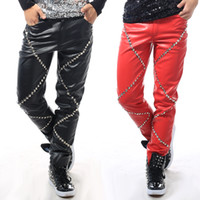 Wholesale Leather Costumes For Men - Wholesale- 2016 Night bar men singer DJ DS stage costumes slim pants rivet pu leather trousers for boy nightclub costume