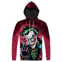 плюс размер hoodies оптовых-Wholesale-Raisevern New The Joker Hoodie Fashion 3D Anime Character Joker Printed Hoody Sweatshirt Pullovers Tops Plus Size 3XL Dropship