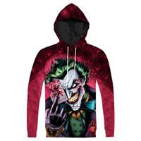 anime artı boyutu toptan satış-Yeni Hoodie Joker Baskılı Hoodie Moda 3D Anime Karakter Joker Baskılı Hoody Kazak Kazaklar Tops Artı Boyutu 3XL Dropship