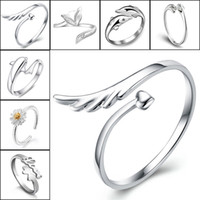 Wholesale brass jewerly - 925 Sterling Silver Jewerly Rings Dolphins Dragonfly Wings Of The Angel Love Fox Butterfly Opening Adjustable Ring For Women 080158