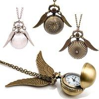 relógio quartzo asa venda por atacado-5 modelos de Ouro Pingente de Bolso Bola de relógio pingentes de colar de Bronze Quidditch Asas relógio de quartzo Fob Relógios homens mulheres 230150