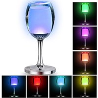 Wholesale Glass Table Lamps For Bedroom - Christmas LED Cup Desk Lamp Touch Sensor Table Lamp Led Bedroom USB Night Lights for Indoor Deco Wine Glass Cup Shape