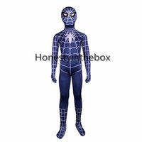Wholesale sexy zentai spiderman - Brand New 2017 Children Blue Spiderman Costumes Lycra Spandex Superhero Spider man Zentai Bodysuit For Halloween