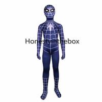 mavi gömlek kostümleri toptan satış-Marka Yeni 2017 Çocuk Mavi Örümcek Adam Kostümleri Likra Spandex Cadılar Bayramı Için Süper Kahraman Örümcek adam Zentai Bodysuit