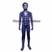 ingrosso costume blu dello spandex blu-Spadacca blu dei bambini 2017 nuovi costumi Lycra Spandex supereroe uomo ragno Zentai body per Halloween