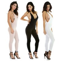 Wholesale Nightclub Jumpsuits For Women - Wholesale- Hot Sexy jumpsuits backless nightclub ankle-length pants playsuit for women lady female cool summer bodysuits basic tight cloth