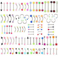 Barato Barras De Lábios-Promoção por atacado 110PCS Modelos mistos / Cores Body Jewelry Set Resina Sobrancelha Navel Belly Lip Tongue Nose Piercing Bar Rings