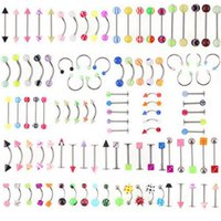 Wholesale Nose Piercings Silver - Wholesale Promotion 110PCS Mixed Models Colors Body Jewelry Set Resin Eyebrow Navel Belly Lip Tongue Nose Piercing Bar Rings