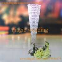 Wholesale 30 inch Trumpet Vase Wedding Centerpiece Flower Stand crystal bead Pomander Stand SIER or GOLD
