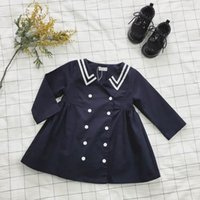 Wholesale Double Breast Girl Dress - 2017 Spring New Girl Dress Navy Style Double breasted Long Sleeve Dress Children Clothing 1-5Y 1825