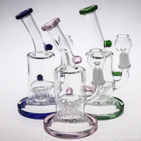 Wholesale pink base - Glass Bong Water Pipes 18cm Tall 14.4mm Water Pipe Pink Green Blue color Bongs With Perc perclator Thick Base Hookahs