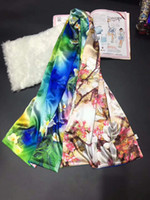 Wholesale Flower Pashmina - Soft Silk Shawl Women Fashion Flower Double-sided Autumn and Winter Long Scarf Multi Colour 55cmx180cm