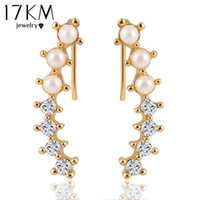 Wholesale Ear Cuffs Pearls - 17KM Fashion Hot Ladies Womens Sweet Gold Color simulated Pearl Crystal 6 Beads Cuff Ear Clips Earring Style Earrings Jewelry