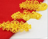 Wholesale Gold Hair Clip Ring - Wholesale gold plated hairpin spring clip Phoenix mothers headdress plated sand blond hair clip peacock hairpinfree delivery