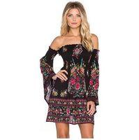 Wholesale Ethnic Tunics - Hippie Boho Dresses Women Vintage Floral Bohemian Print Dashiki Tunic Dress Off Shoulder Ethnic Style Casual Mini Vestidos Robe Party Wear