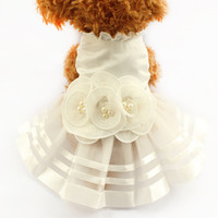 Wholesale Dog Flower Dresses - armipet Pearl Flower Adornment Dog Dress Wedding Dresses For Dogs 6073008 Pet Skirt Costume Supplies XS, S, M, L, XL