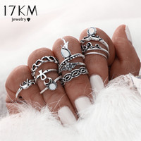 Wholesale Turkish Engagement Bands - 17KM 10pcs Set Gold Color Flower Midi Ring Sets for Women Silver Color Boho Beach Vintage Turkish Punk Elephant Knuckle Ring
