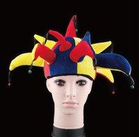 Wholesale Clown Dance Costumes - Halloween make - up dance props costumes Halloween supplies multi color fashion performance headdress striped clown hat