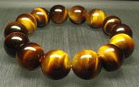 Wholesale 16mm Round Beads - Wholesale Genuine Natural AAA Yellow Tiger's Eye Finished Stretch Bracelet Round Loose beads 8-16mm Fit Jewelry DIY 0990