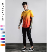 Wholesale Dip Dyed Shorts - INFLATION Tee Men's Funny Hip Hop Dip Dye Cotton O Neck Short Sleeve Tee Free Shipping