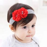 barri el mundo de los nios adornos de cabello de los nios rojo diamante gasa flor beb pelo banda