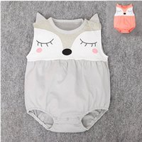 Wholesale Sleeveless For Summer Cartoon - Cute baby fox romper Infants summer cartoon animal romper 2colors 4sizes summer outfits for 0-3T