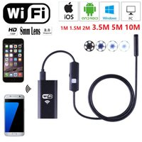 Wholesale Endoscopic Cameras - New 1m 1.5m 2m 3.5m 5m 10m Wifi Endoscope Camera Android 720P Iphone Borescope Waterproof Camera Endoscopic Android iOS Boroscope Camera