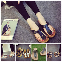 Wholesale Wholesaler Slippers - Beach Shoes Flip Flops Summer Cork Slipper Woman Flat Sandals Antiskid Slippers Beach Casual Cool Slipper 2pcs pair OOA1674